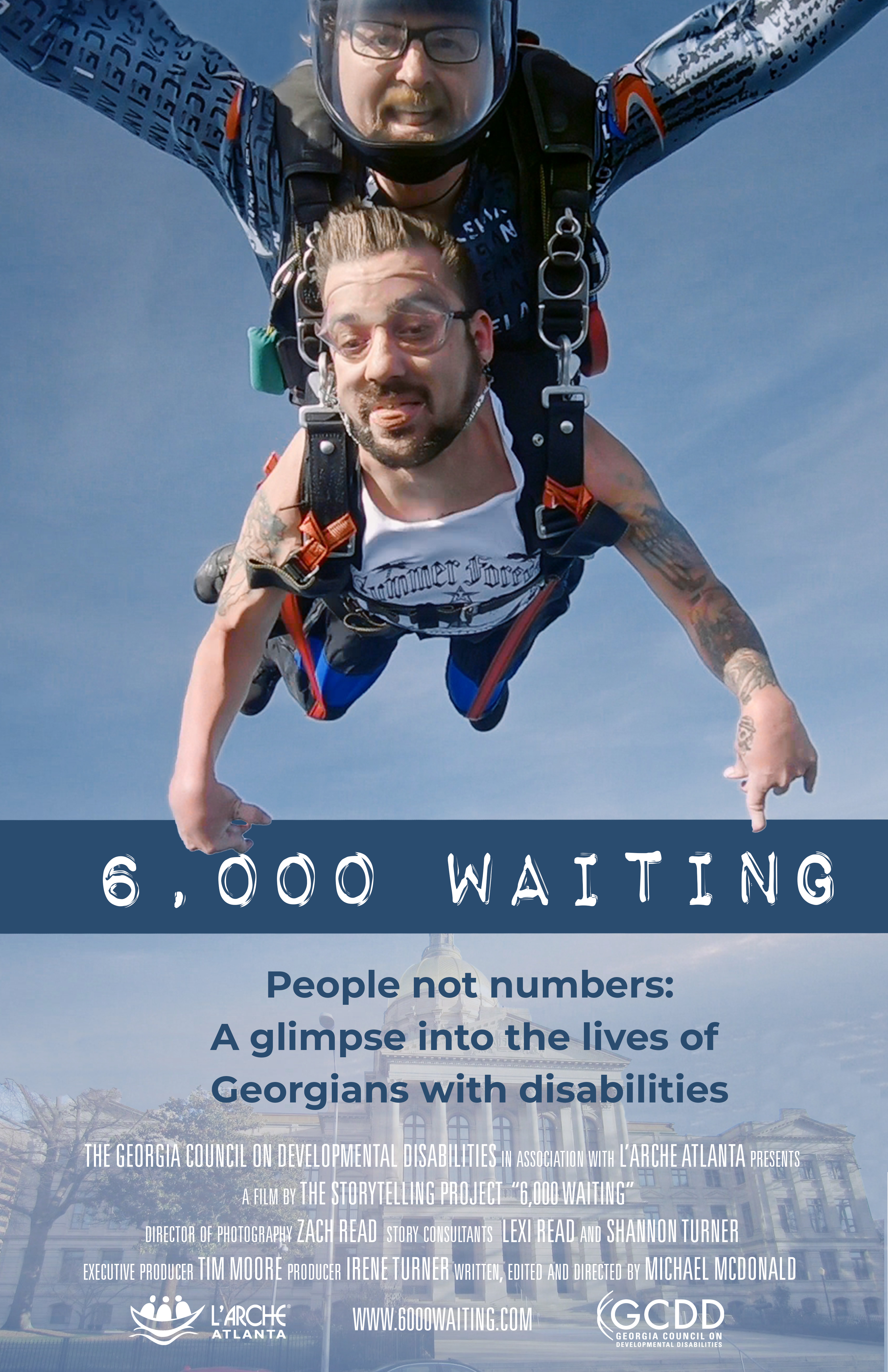 Poster for documentary 6000 Waiting. Two men tethered together skydiving, one with a disability
