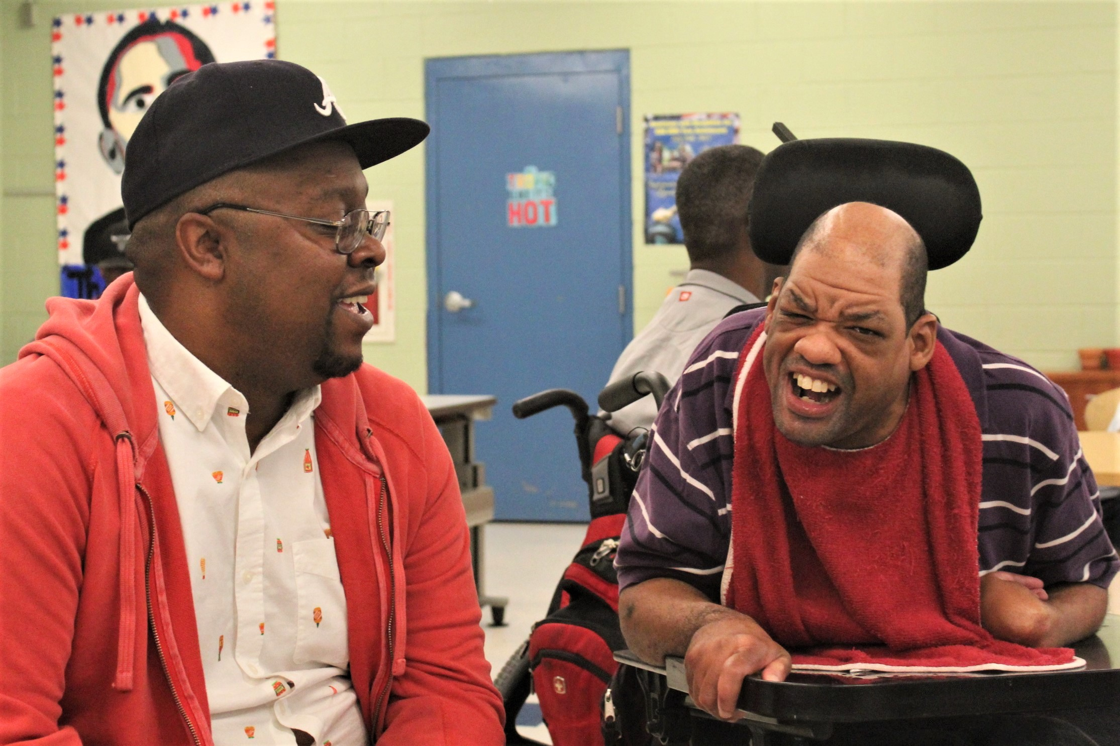 Anthony Howard (L) with hanging out with Jimmy, Adult Program participant